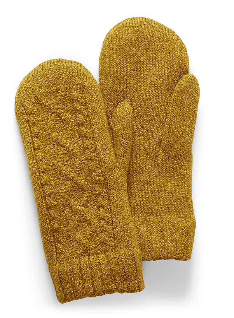Twisted-knit mittens - Mittens - Golden Yellow