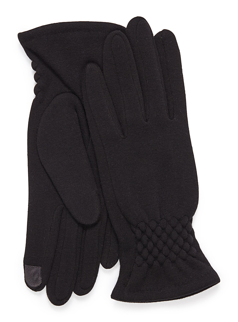 Pleated-cuff touch sensitive gloves