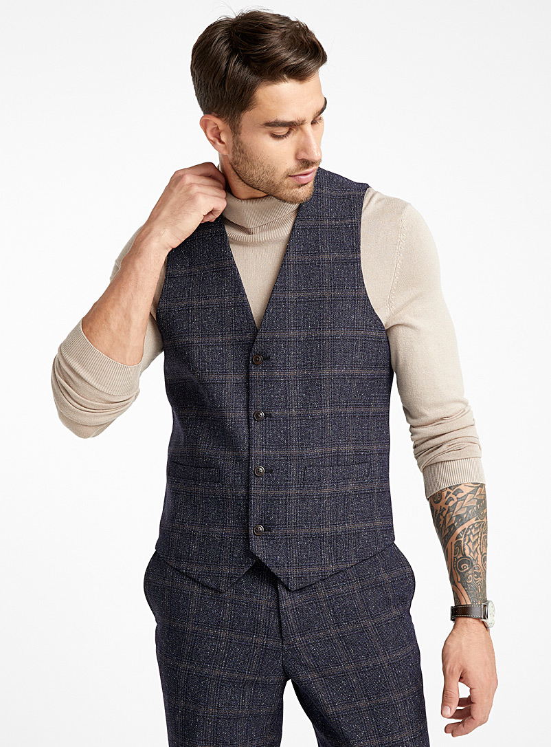 Windowpane check heather vest  Berlin fit-Regular - Regular Fit - Blue
