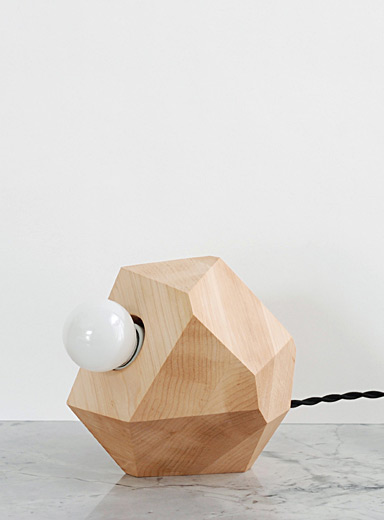 Geometric maple table lamp