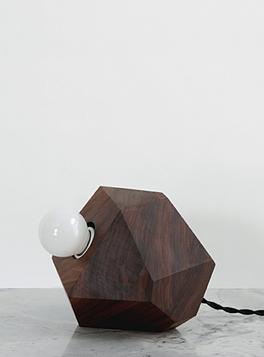 Geometric walnut table lamp