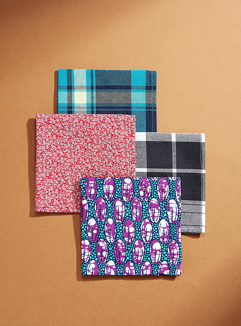Coo-Mon: Les foulards pochette madras pop  Ensemble de 4 Assorti