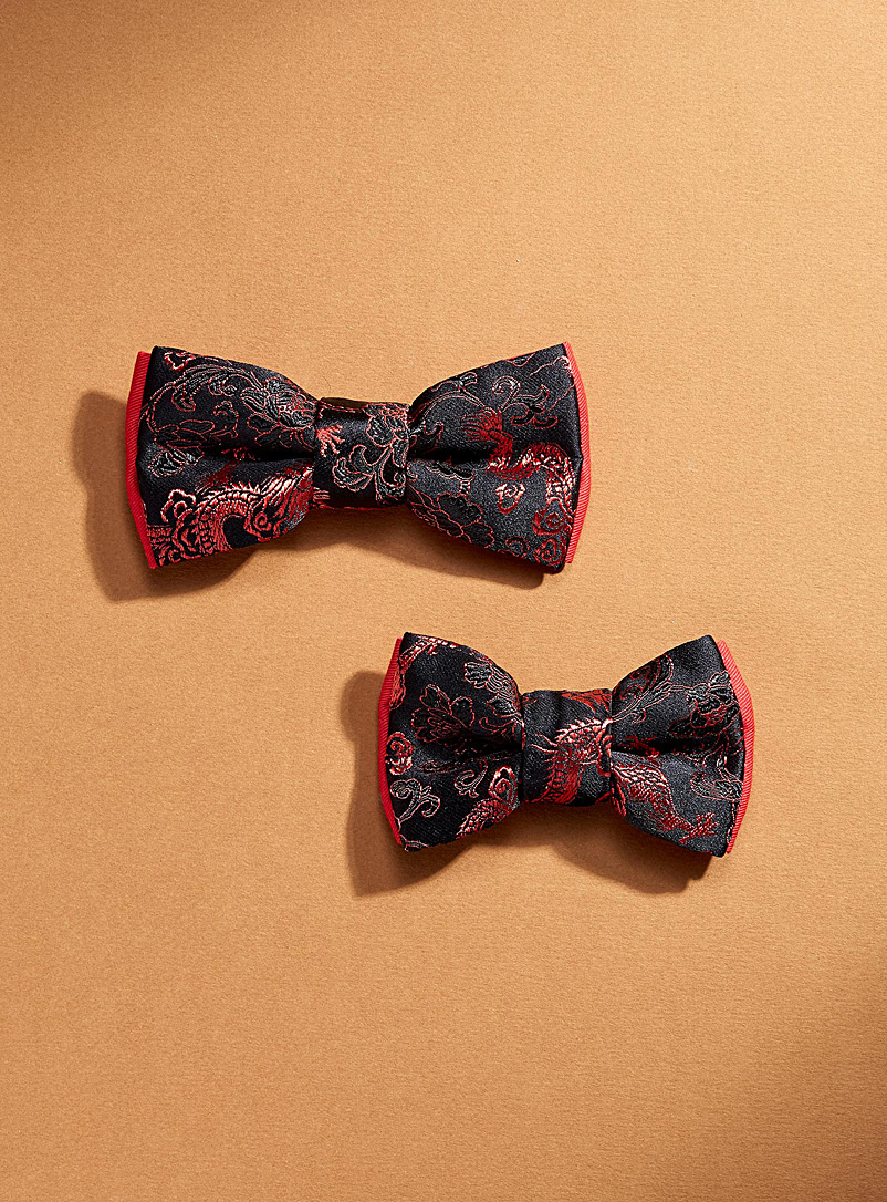 Coo-Mon Black Father and son red dragon bow ties