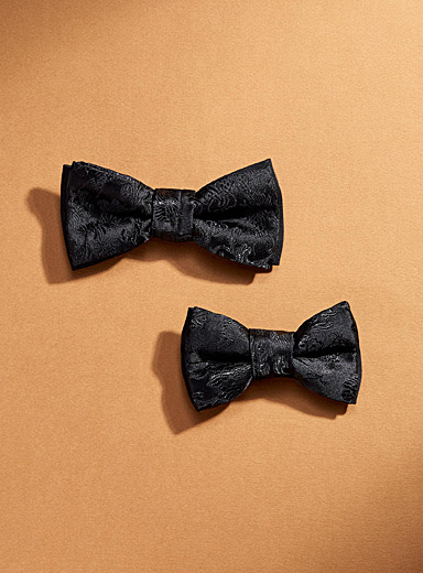 Father and son monochrome flower bow ties