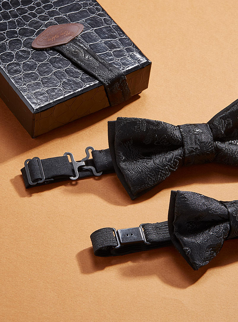 Coo-Mon Black Father and son monochrome flower bow ties