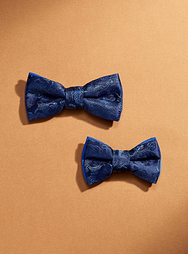 Coo-Mon Marine Blue Father and son blue flower bow ties