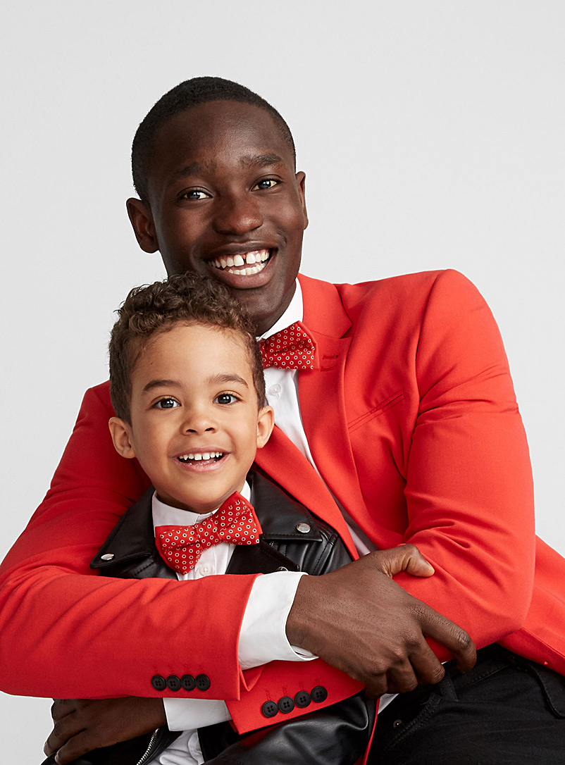 Father and son red dot bow ties