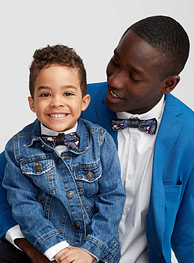 Father and son recycled leather accent bow ties