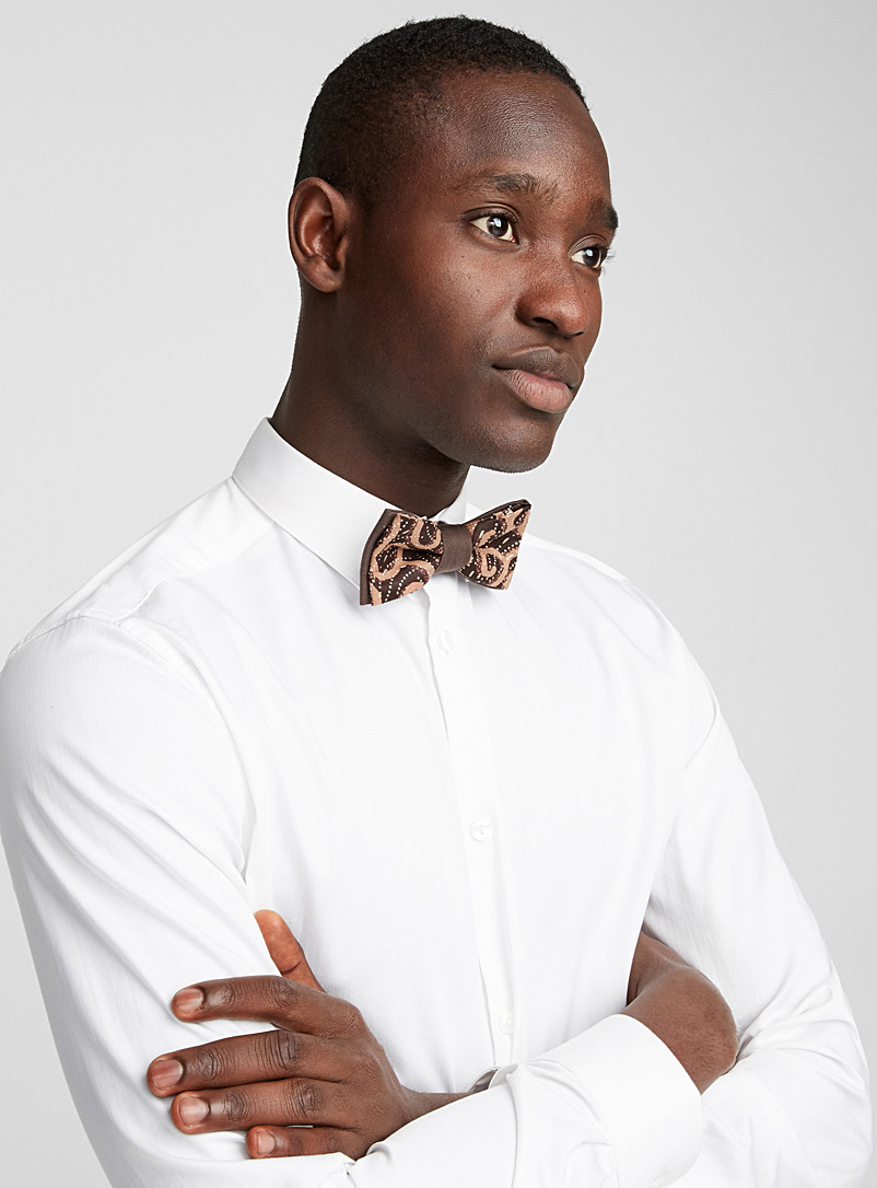 Coo-Mon Brown Arabesque bow tie