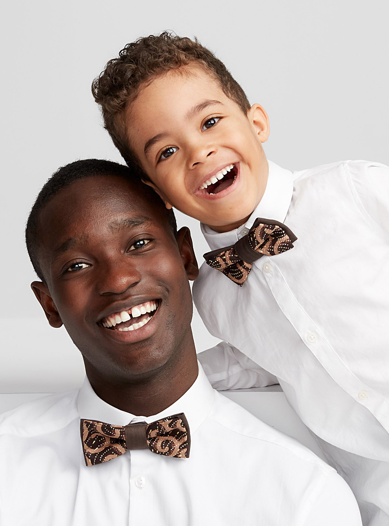 Coo-Mon Brown Father and son arabesque bow ties