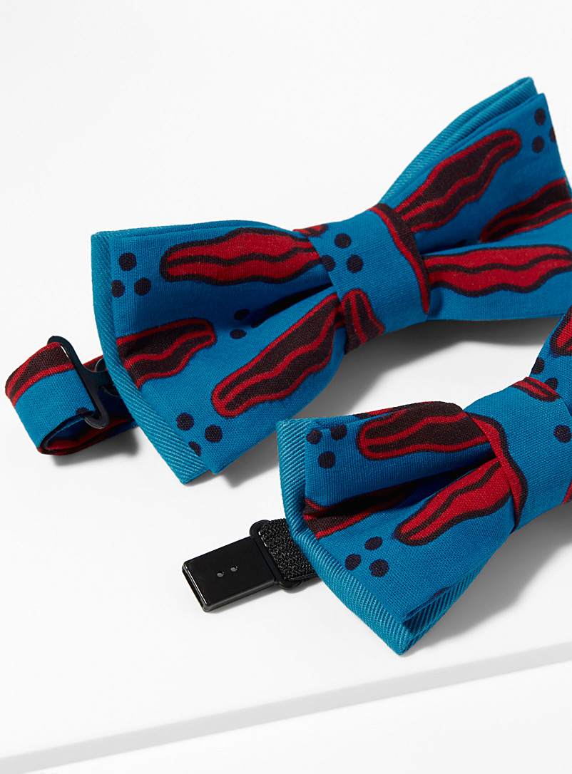 Coo-Mon Blue Father and son kiss pattern bow ties