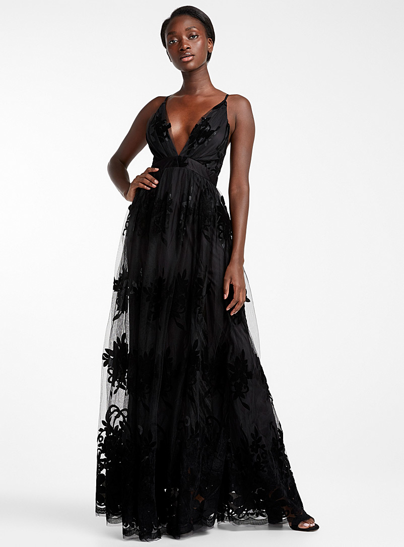 Ic?ne Black Velvet floral tulle maxi dress for women