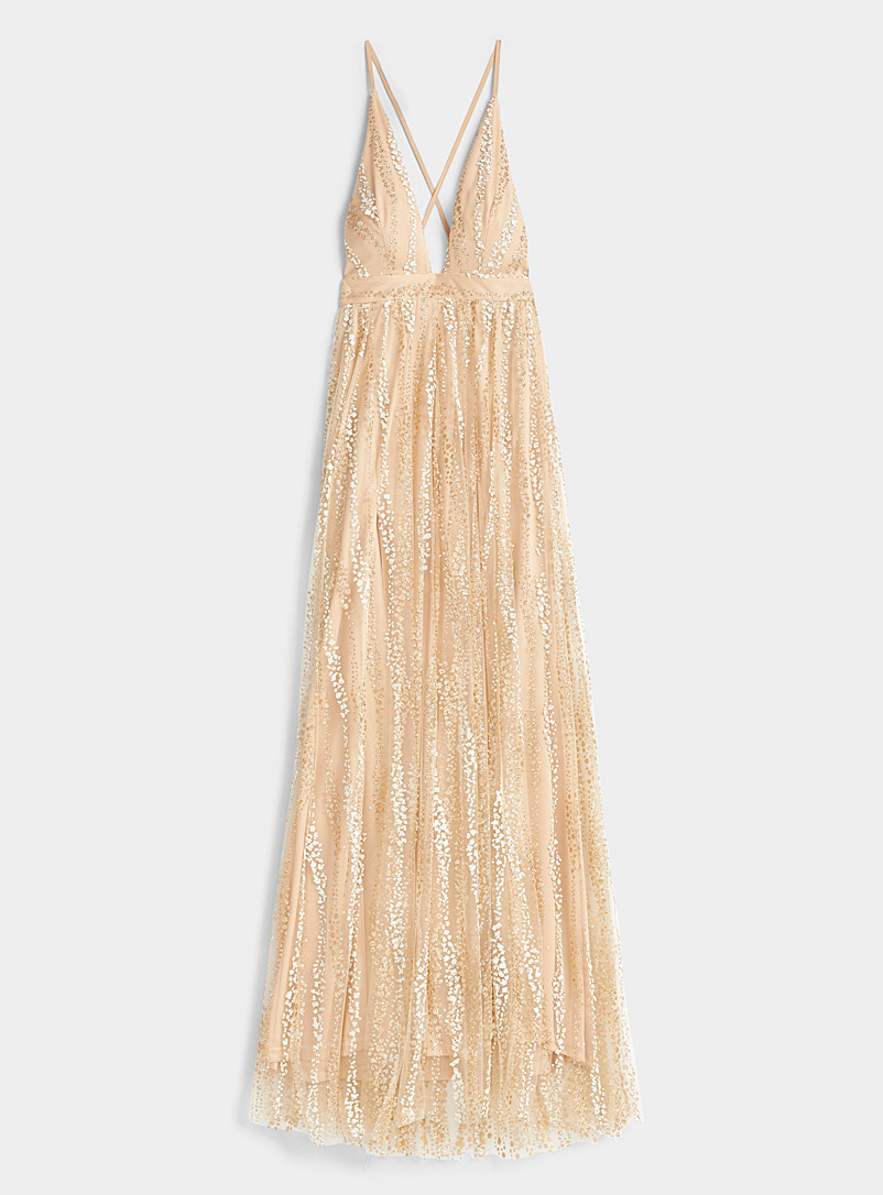 Ic?ne Tan Shimmery tulle dress for women