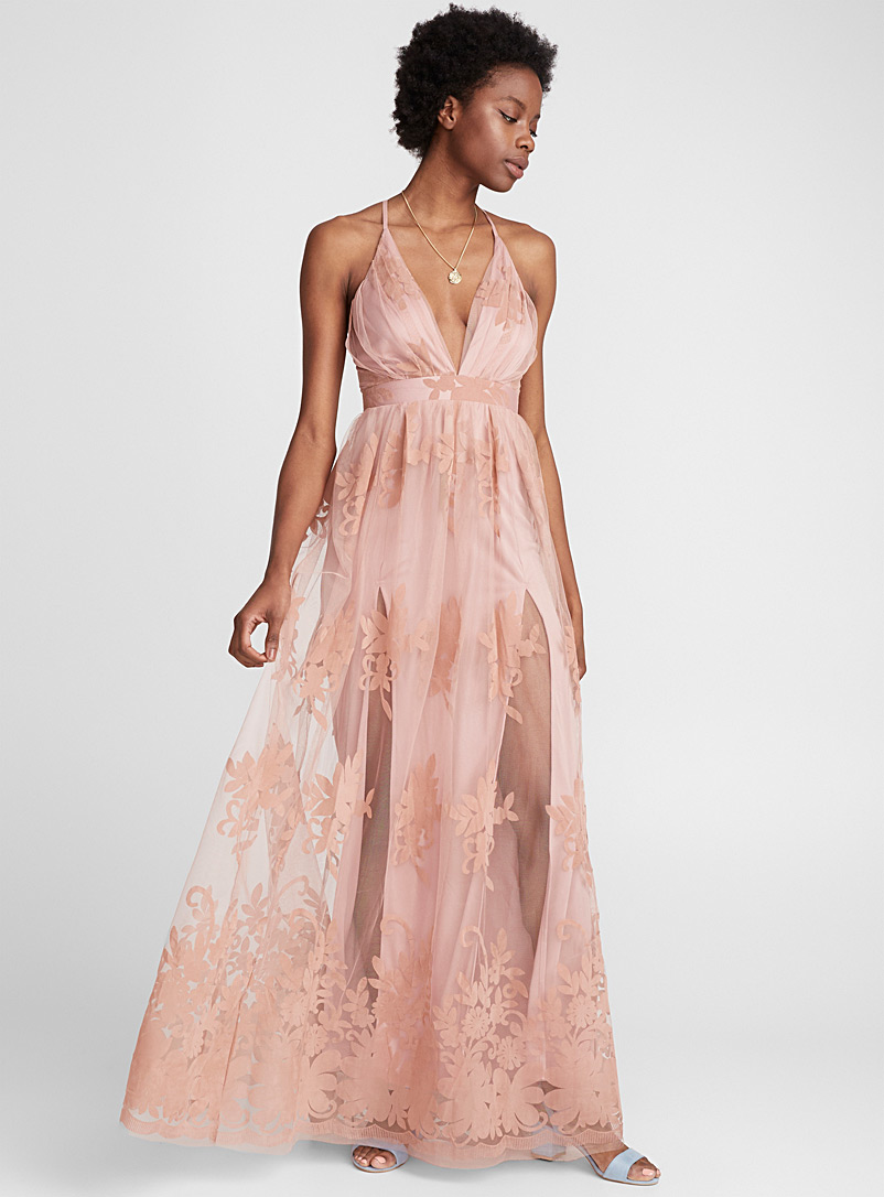 Velvety flower tulle dress - Fit & Flare - Pink