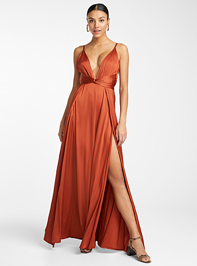 Tie-style copper satin dress