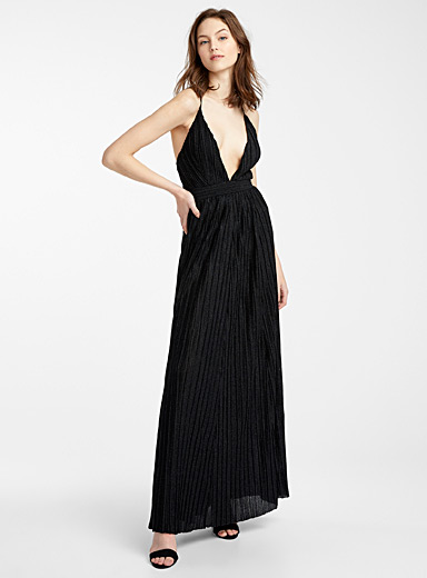 Nocturnal sparkle pleated dress