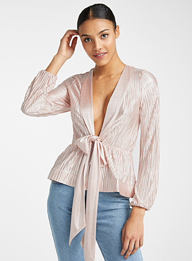 Lamé-like crossover blouse