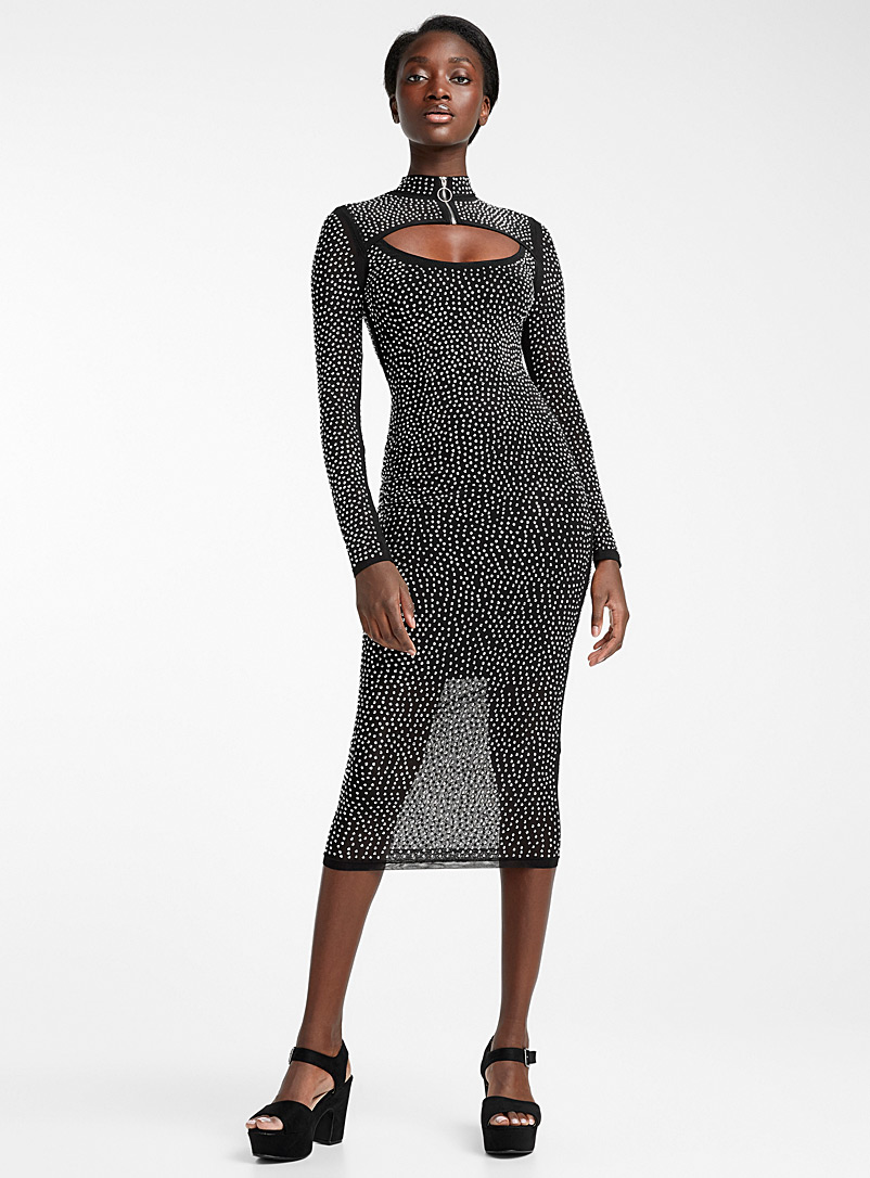 Ic?ne Patterned Black Infinite crystal midi dress for women