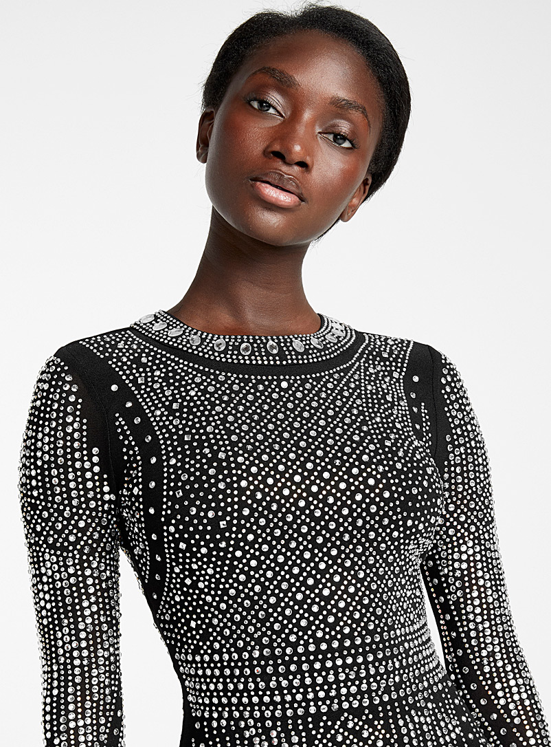 Icône Patterned Black Infinite crystal fitted dress for women