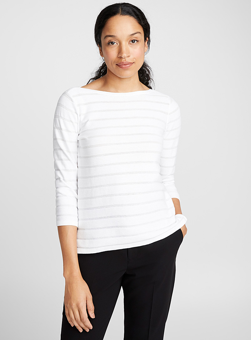 Contemporaine Ivory White Embossed-stripe sweater for women