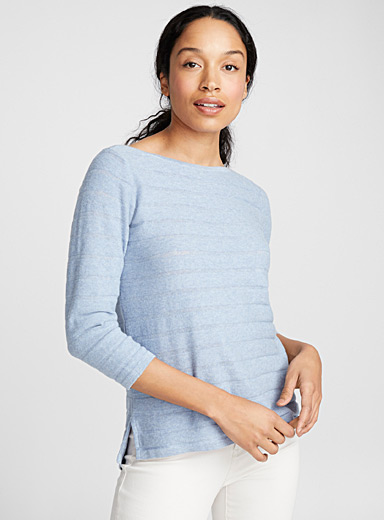 Embossed-stripe sweater