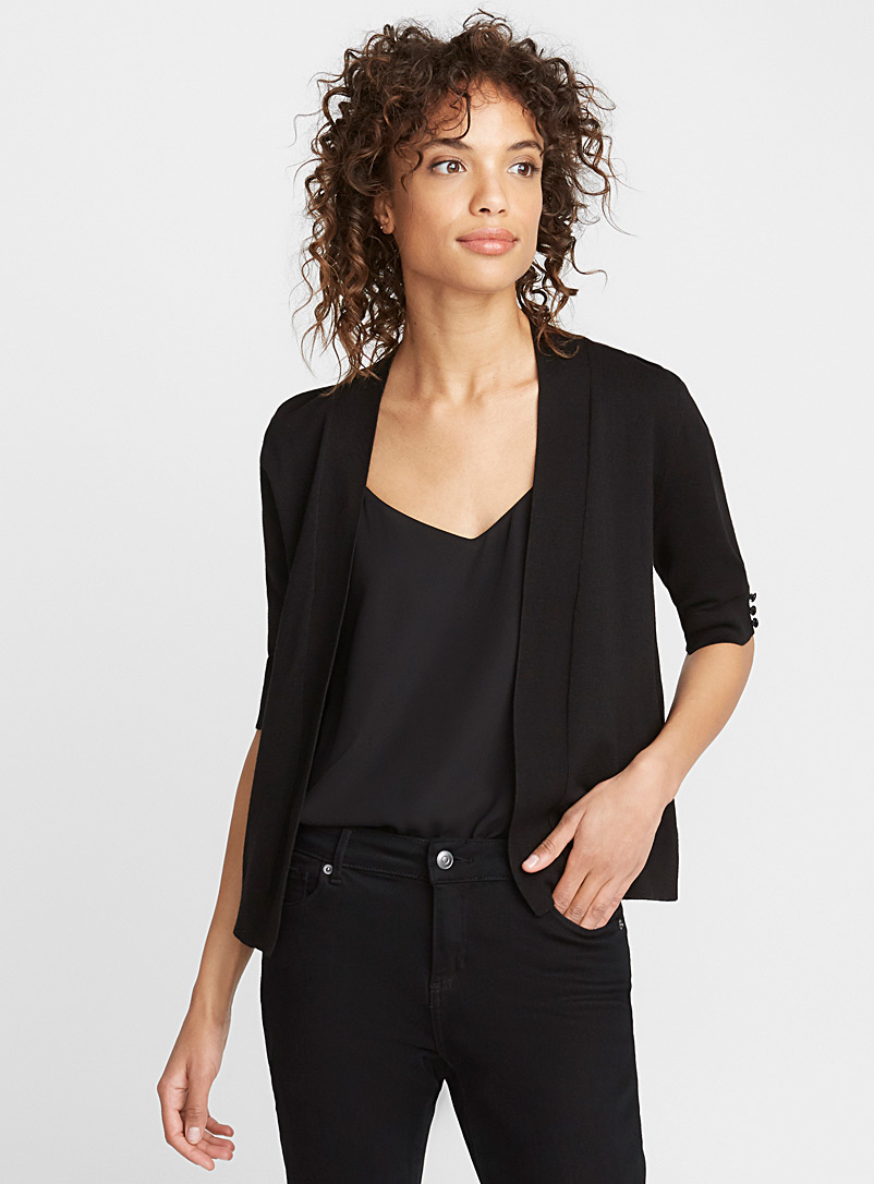 Elbow-length sleeve bolero - Cardigans - Black