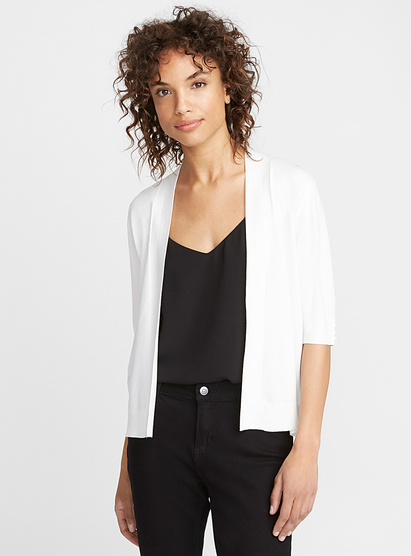 Contemporaine White Elbow-length sleeve bolero for women