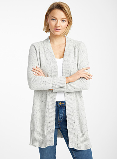 Confetti knit open cardigan