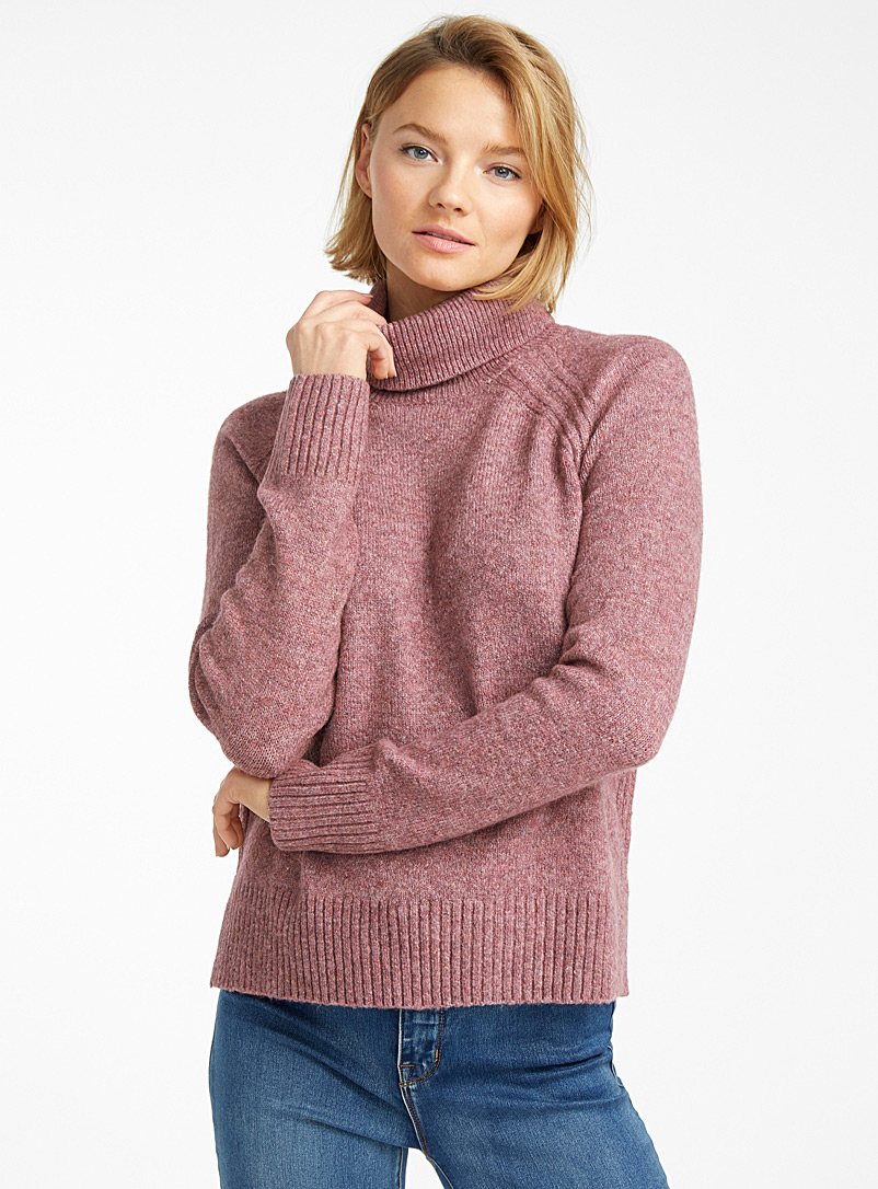 Ribbed-trim raglan turtleneck - Sweaters - Ruby Red