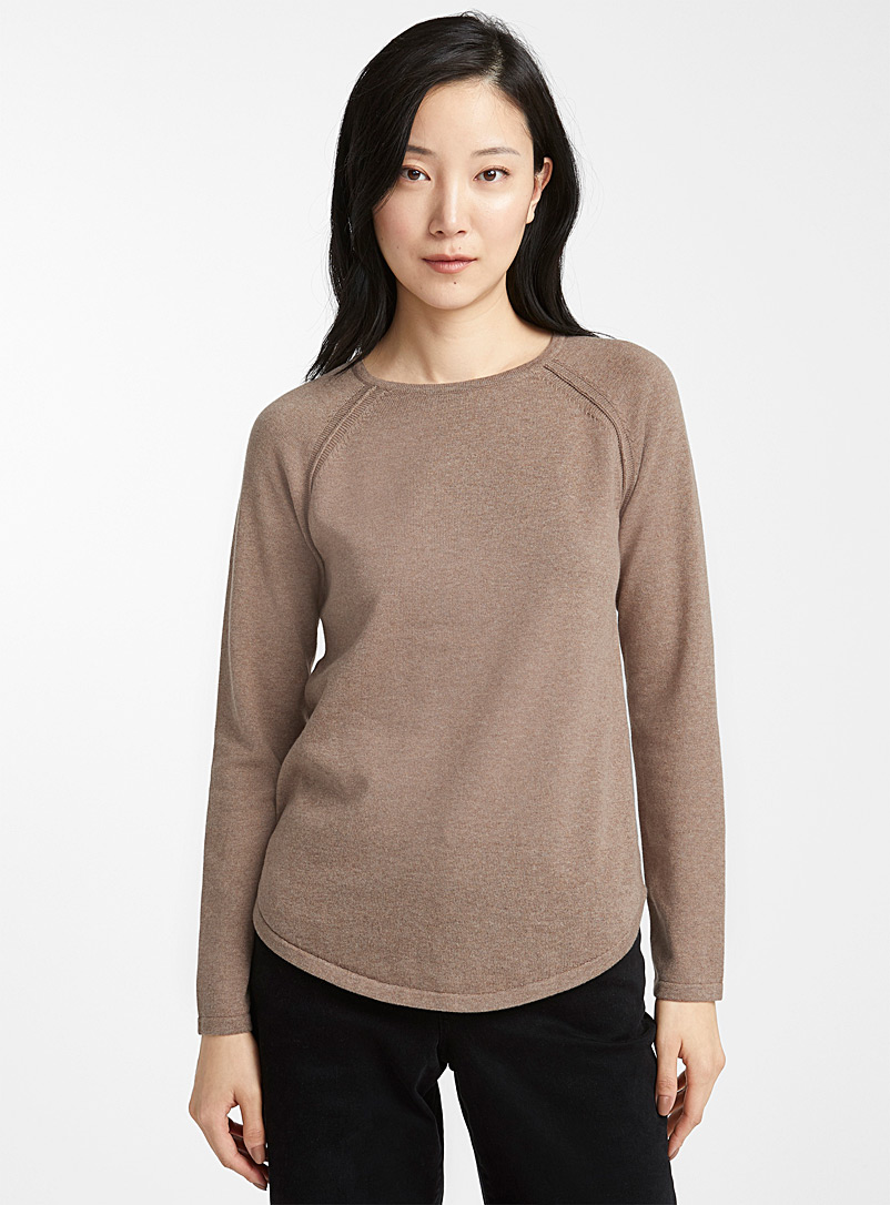 Contemporaine Light Brown Rounded hem crew-neck sweater for women