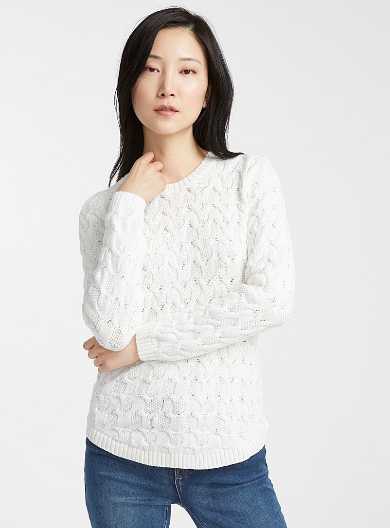 Textured knit sweater - Sweaters - Ivory White