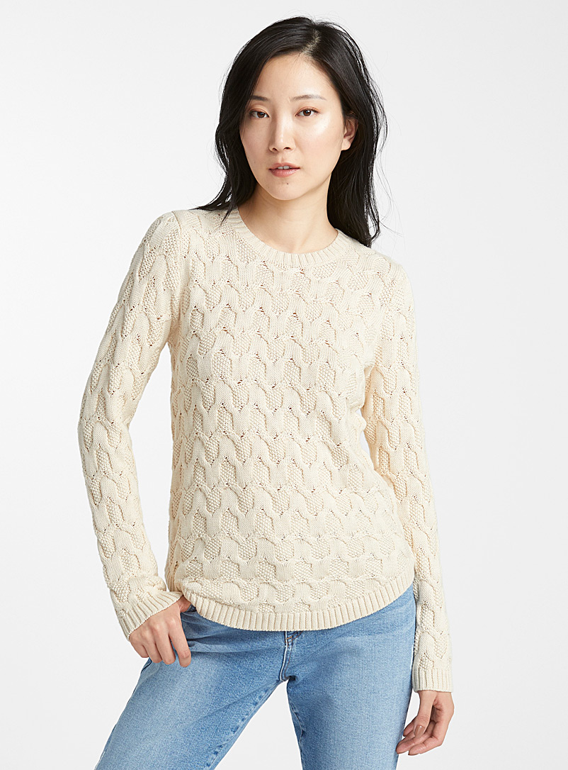 Textured knit sweater - Sweaters - Cream Beige