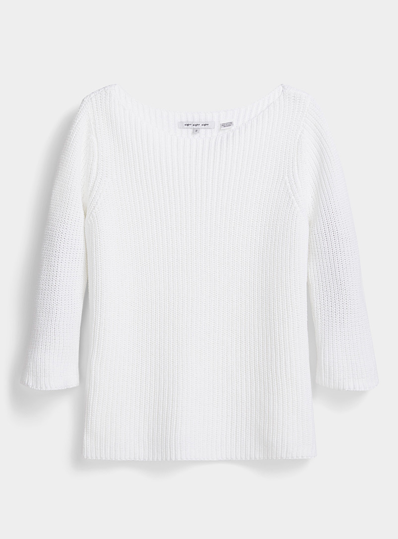 Contemporaine White Boat neck shaker rib sweater for women