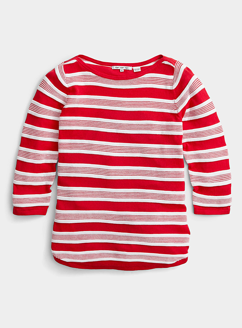 Contemporaine Red Embossed two-tone striped sweater for women