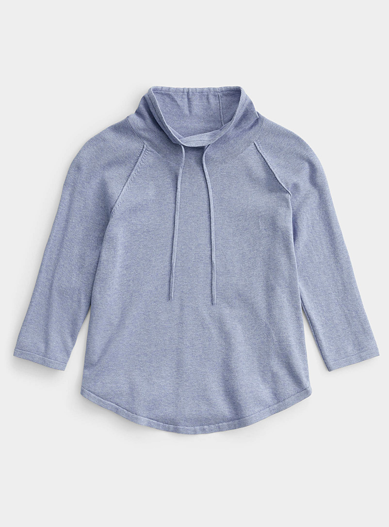 Contemporaine Slate Blue Drawstring-neck rounded sweater for women
