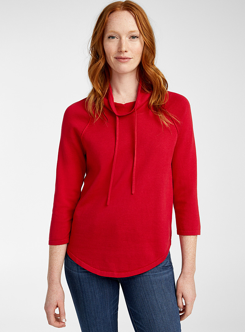 Contemporaine Red Drawstring-neck rounded sweater for women