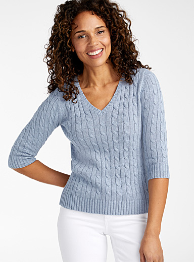 Embossed cable V-neck sweater