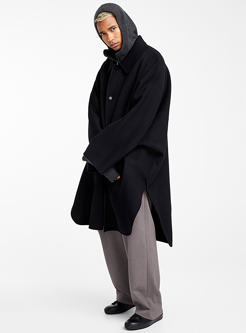 Batwing sleeve coat - System Homme - Black