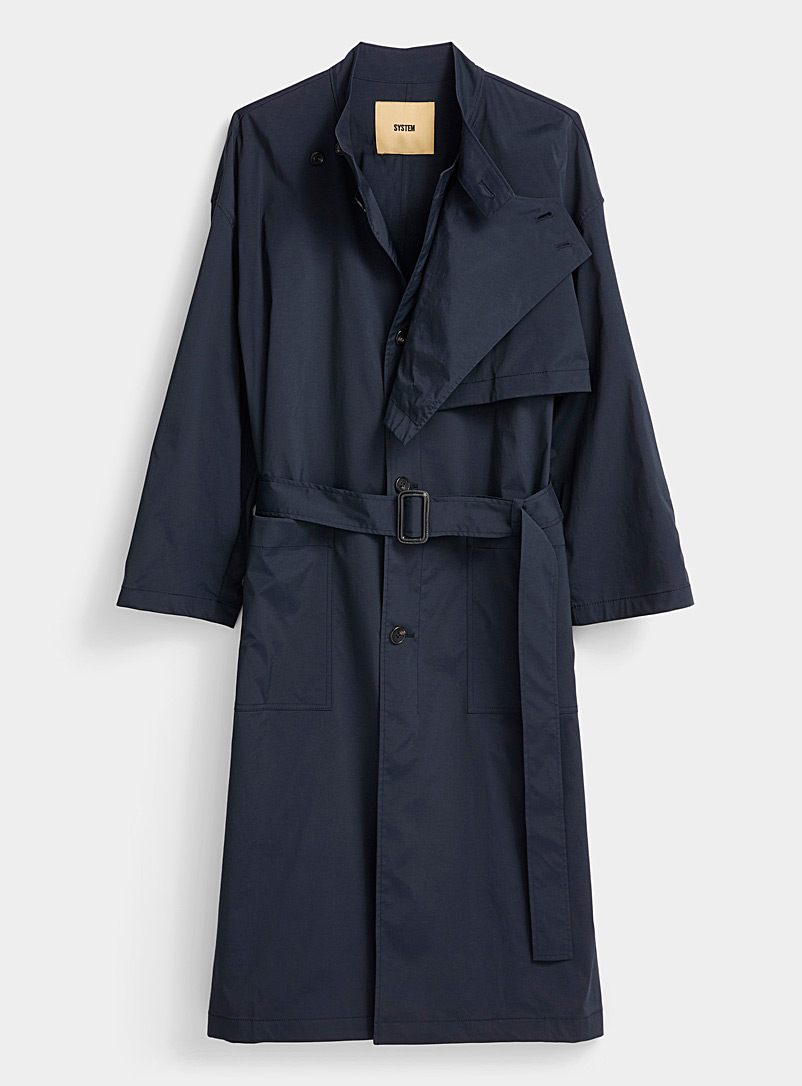 System Homme Marine Blue Patch pocket trench coat for men