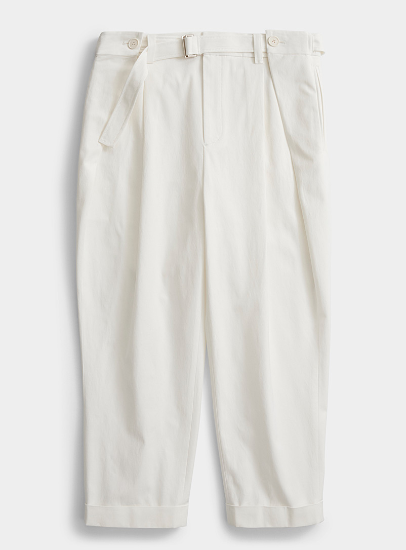 System Homme White Belted pant for men