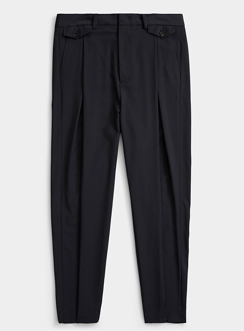 System Homme Charcoal Wide pleat pant for men