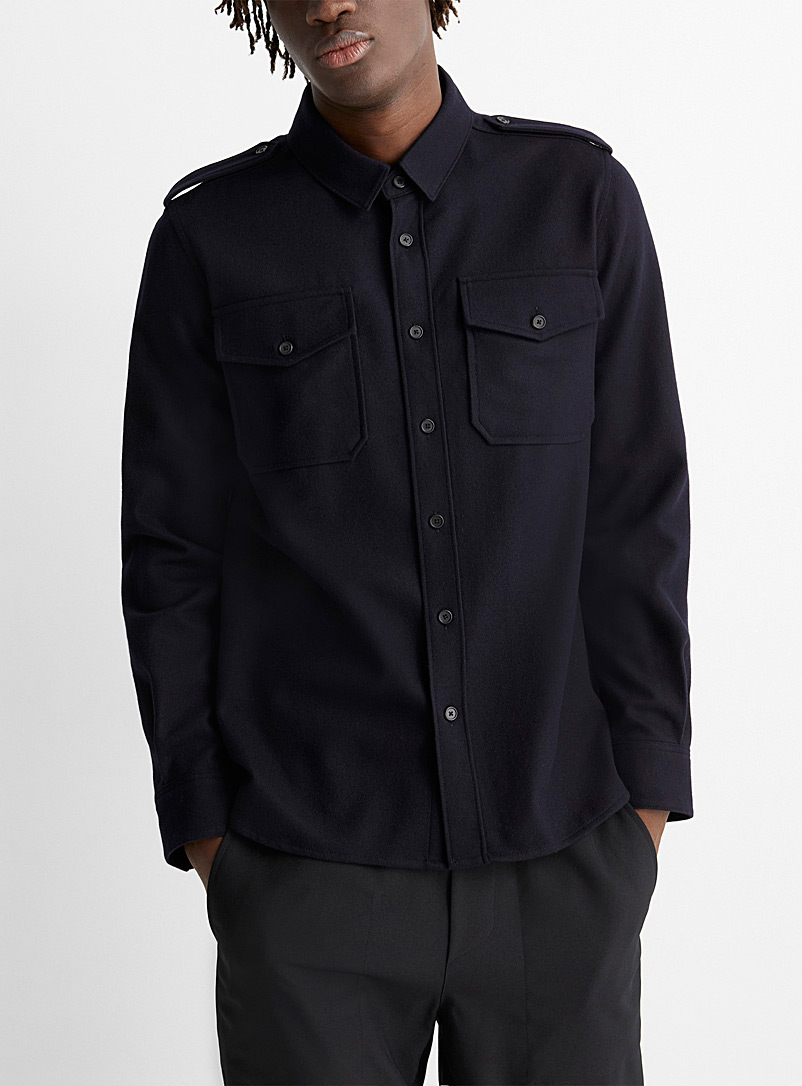 System Homme Marine Blue Rich wool utility shirt for men