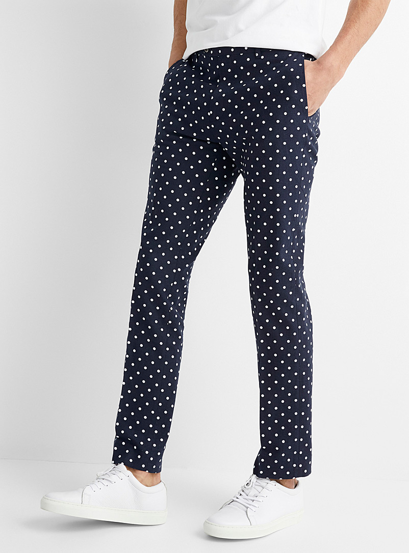 Dot navy pant Slim fit