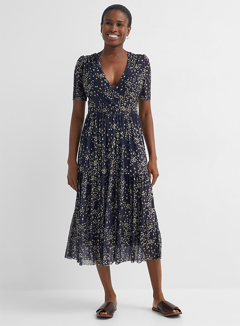 Soaked in Luxury Patterned Blue Floral micro-mesh midi dress for women