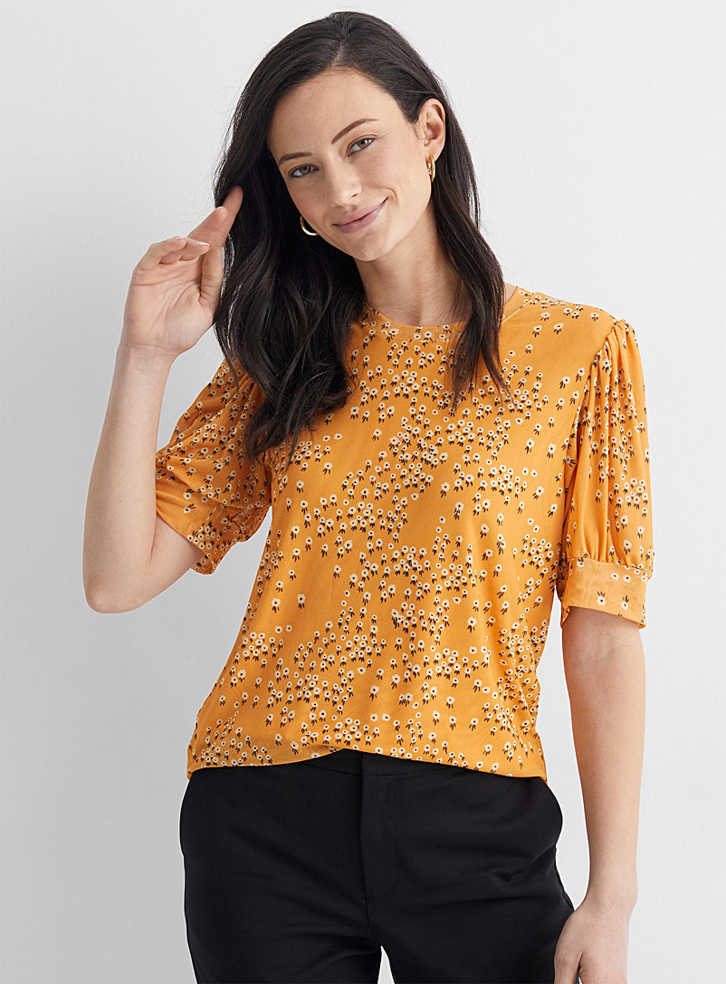 Soaked in Luxury Patterned Yellow Floral micro-mesh T-shirt for women