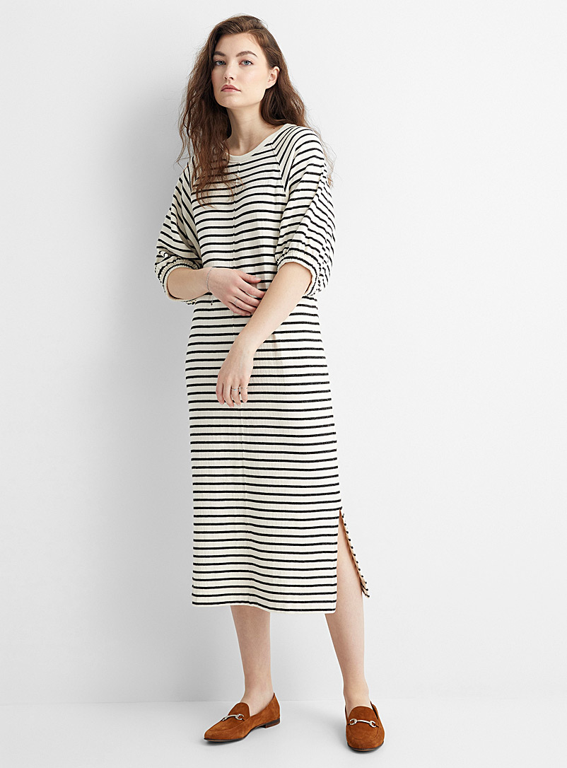 Soaked in Luxury Black and White Puff-sleeve stripe dress for women