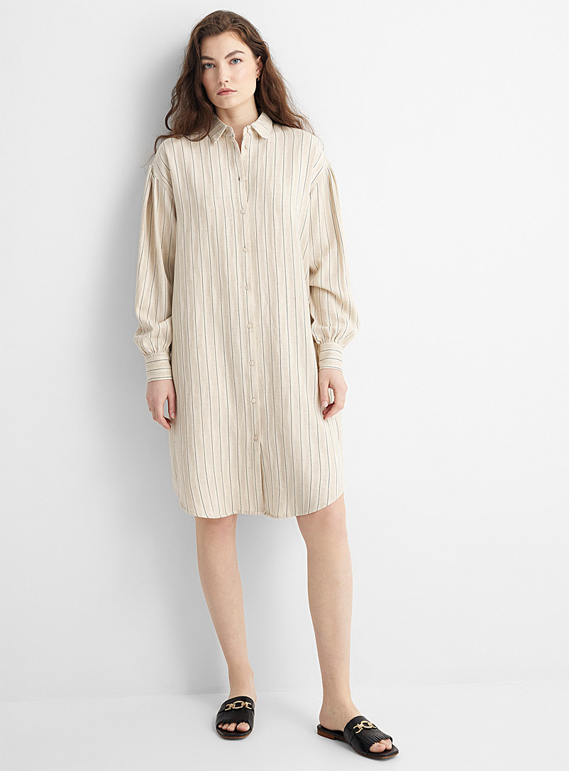 Soaked in Luxury: La robe chemise fines rayures Ivoire blanc os pour femme