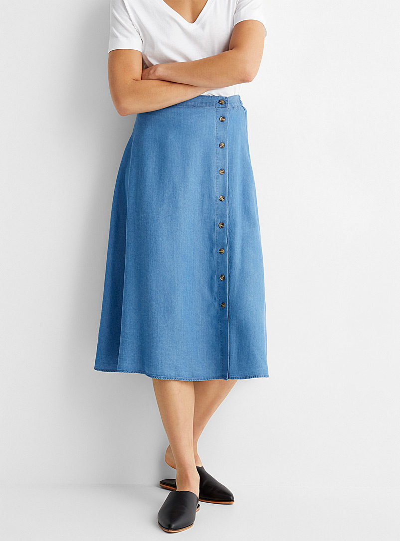 Soaked in Luxury Blue Lyocell buttoned denim midi skirt for women