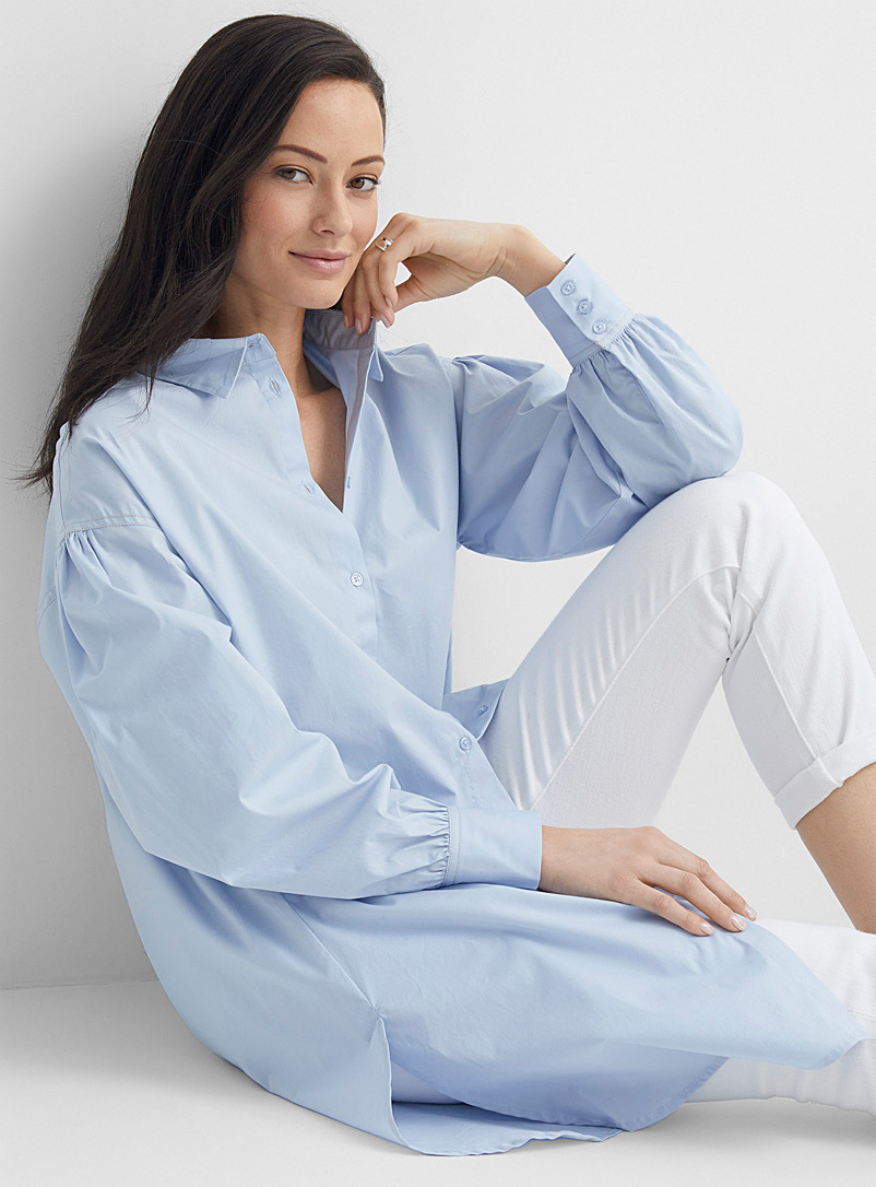 Soaked in Luxury Baby Blue Puff sleeve shirt tunic for women