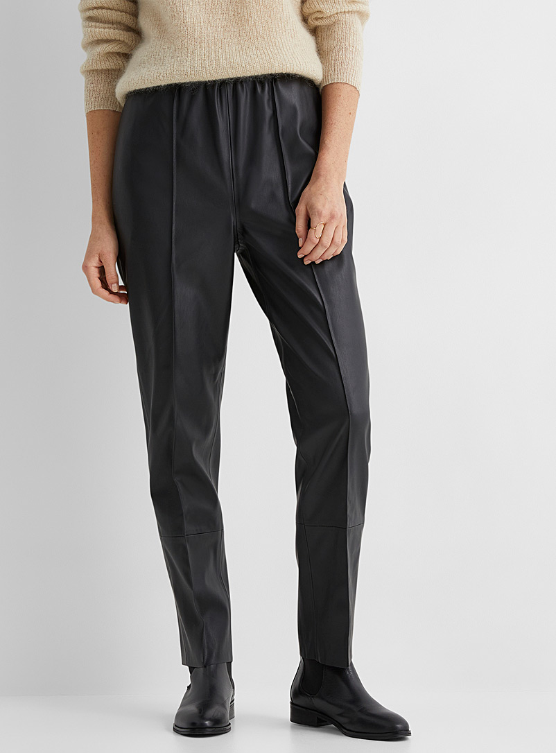 Soaked in Luxury Black Modern faux-leather joggers for women